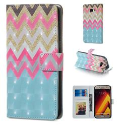 Color Wave 3D Painted Leather Phone Wallet Case for Samsung Galaxy A5 2017 A520
