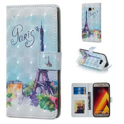 Paris Tower 3D Painted Leather Phone Wallet Case for Samsung Galaxy A5 2017 A520