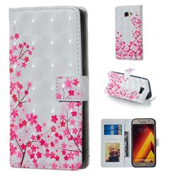 Cherry Blossom 3D Painted Leather Phone Wallet Case for Samsung Galaxy A5 2017 A520