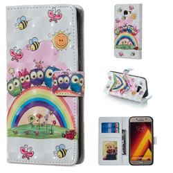 Rainbow Owl Family 3D Painted Leather Phone Wallet Case for Samsung Galaxy A5 2017 A520