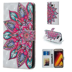 Mandara Flower 3D Painted Leather Phone Wallet Case for Samsung Galaxy A5 2017 A520
