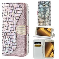 Glitter Diamond Buckle Laser Stitching Leather Wallet Phone Case for Samsung Galaxy A5 2017 A520 - Pink