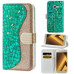 Glitter Diamond Buckle Laser Stitching Leather Wallet Phone Case for Samsung Galaxy A5 2017 A520 - Green