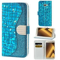 Glitter Diamond Buckle Laser Stitching Leather Wallet Phone Case for Samsung Galaxy A5 2017 A520 - Blue