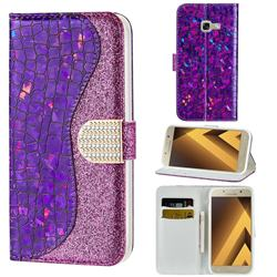 Glitter Diamond Buckle Laser Stitching Leather Wallet Phone Case for Samsung Galaxy A5 2017 A520 - Purple