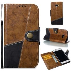 Retro Magnetic Stitching Wallet Flip Cover for Samsung Galaxy A5 2017 A520 - Brown