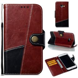 Retro Magnetic Stitching Wallet Flip Cover for Samsung Galaxy A5 2017 A520 - Dark Red