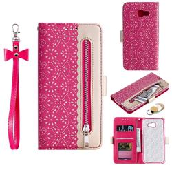 Luxury Lace Zipper Stitching Leather Phone Wallet Case for Samsung Galaxy A5 2017 A520 - Rose