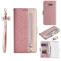 Luxury Lace Zipper Stitching Leather Phone Wallet Case for Samsung Galaxy A5 2017 A520 - Pink