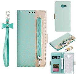 Luxury Lace Zipper Stitching Leather Phone Wallet Case for Samsung Galaxy A5 2017 A520 - Green