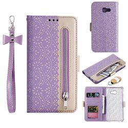 Luxury Lace Zipper Stitching Leather Phone Wallet Case for Samsung Galaxy A5 2017 A520 - Purple
