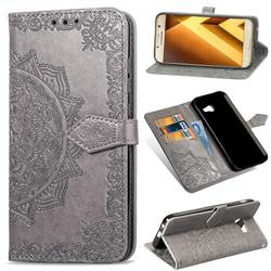 Embossing Imprint Mandala Flower Leather Wallet Case for Samsung Galaxy A5 2017 A520 - Gray