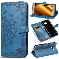 Embossing Imprint Mandala Flower Leather Wallet Case for Samsung Galaxy A5 2017 A520 - Blue