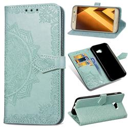 Embossing Imprint Mandala Flower Leather Wallet Case for Samsung Galaxy A5 2017 A520 - Green