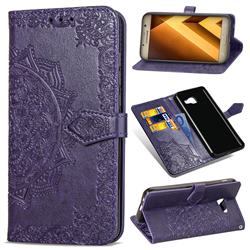 Embossing Imprint Mandala Flower Leather Wallet Case for Samsung Galaxy A5 2017 A520 - Purple