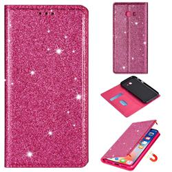 Ultra Slim Glitter Powder Magnetic Automatic Suction Leather Wallet Case for Samsung Galaxy A5 2017 A520 - Rose Red
