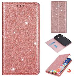 Ultra Slim Glitter Powder Magnetic Automatic Suction Leather Wallet Case for Samsung Galaxy A5 2017 A520 - Rose Gold