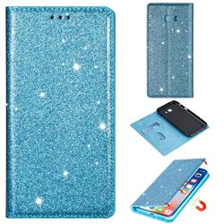 Ultra Slim Glitter Powder Magnetic Automatic Suction Leather Wallet Case for Samsung Galaxy A5 2017 A520 - Blue