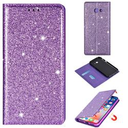 Ultra Slim Glitter Powder Magnetic Automatic Suction Leather Wallet Case for Samsung Galaxy A5 2017 A520 - Purple