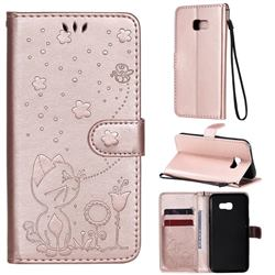 Embossing Bee and Cat Leather Wallet Case for Samsung Galaxy A5 2017 A520 - Rose Gold