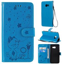 Embossing Bee and Cat Leather Wallet Case for Samsung Galaxy A5 2017 A520 - Blue