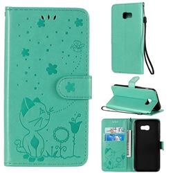 Embossing Bee and Cat Leather Wallet Case for Samsung Galaxy A5 2017 A520 - Green