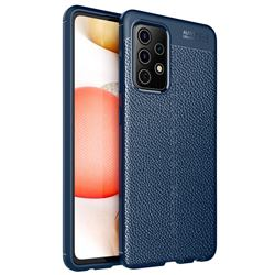 Luxury Auto Focus Litchi Texture Silicone TPU Back Cover for Samsung Galaxy A52 5G - Dark Blue