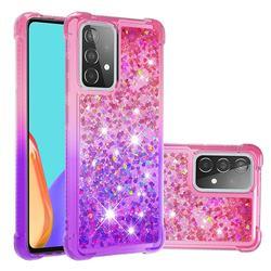 Rainbow Gradient Liquid Glitter Quicksand Sequins Phone Case for Samsung Galaxy A52 5G - Pink Purple