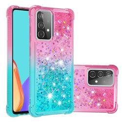 Rainbow Gradient Liquid Glitter Quicksand Sequins Phone Case for Samsung Galaxy A52 5G - Pink Blue