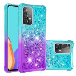 Rainbow Gradient Liquid Glitter Quicksand Sequins Phone Case for Samsung Galaxy A52 5G - Blue Purple