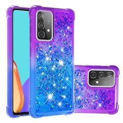 Rainbow Gradient Liquid Glitter Quicksand Sequins Phone Case for Samsung Galaxy A52 5G - Purple Blue