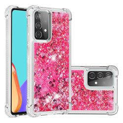 Dynamic Liquid Glitter Sand Quicksand TPU Case for Samsung Galaxy A52 (4G, 5G) - Pink Love Heart