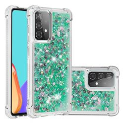 Dynamic Liquid Glitter Sand Quicksand TPU Case for Samsung Galaxy A52 (4G, 5G) - Green Love Heart