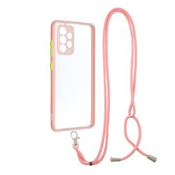 Necklace Cross-body Lanyard Strap Cord Phone Case Cover for Samsung Galaxy A52 (4G, 5G) - Pink