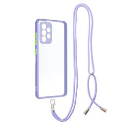 Necklace Cross-body Lanyard Strap Cord Phone Case Cover for Samsung Galaxy A52 (4G, 5G) - Purple