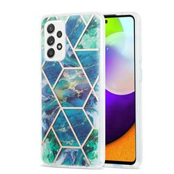Blue Green Marble Pattern Galvanized Electroplating Protective Case Cover for Samsung Galaxy A52 (4G, 5G)