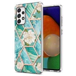 Blue Chrysanthemum Marble Electroplating Protective Case Cover for Samsung Galaxy A52 (4G, 5G)
