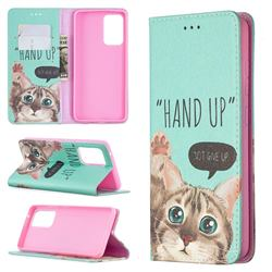 Hand Up Cat Slim Magnetic Attraction Wallet Flip Cover for Samsung Galaxy A52 5G