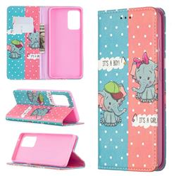 Elephant Boy and Girl Slim Magnetic Attraction Wallet Flip Cover for Samsung Galaxy A52 5G