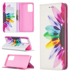 Sun Flower Slim Magnetic Attraction Wallet Flip Cover for Samsung Galaxy A52 5G