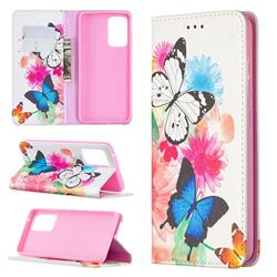 Flying Butterflies Slim Magnetic Attraction Wallet Flip Cover for Samsung Galaxy A52 5G