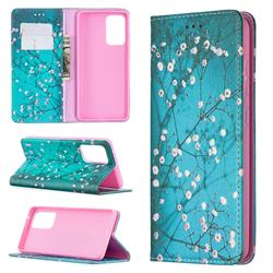 Plum Blossom Slim Magnetic Attraction Wallet Flip Cover for Samsung Galaxy A52 5G