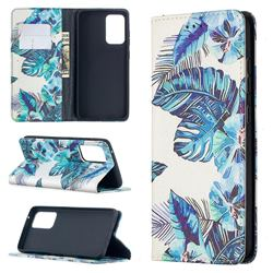 Blue Leaf Slim Magnetic Attraction Wallet Flip Cover for Samsung Galaxy A52 5G