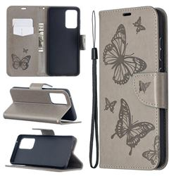Embossing Double Butterfly Leather Wallet Case for Samsung Galaxy A52 5G - Gray