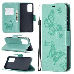 Embossing Double Butterfly Leather Wallet Case for Samsung Galaxy A52 5G - Green