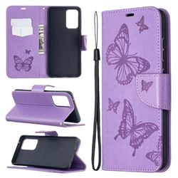 Embossing Double Butterfly Leather Wallet Case for Samsung Galaxy A52 5G - Purple