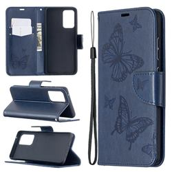 Embossing Double Butterfly Leather Wallet Case for Samsung Galaxy A52 5G - Dark Blue