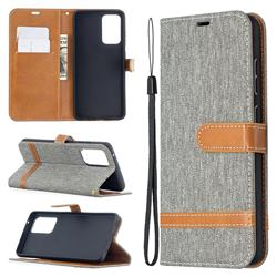 Jeans Cowboy Denim Leather Wallet Case for Samsung Galaxy A52 5G - Gray