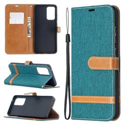 Jeans Cowboy Denim Leather Wallet Case for Samsung Galaxy A52 5G - Green