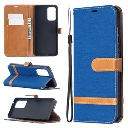 Jeans Cowboy Denim Leather Wallet Case for Samsung Galaxy A52 5G - Sapphire